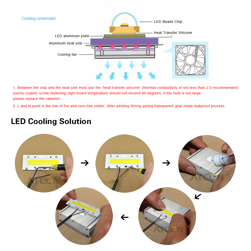 Ip65 Cob Led Chips 30w 50w 70w 100w Ac 220v Bulb Lamp Light Lights Wiring Diagram Smart Ic For Diy High Power Flood Spot