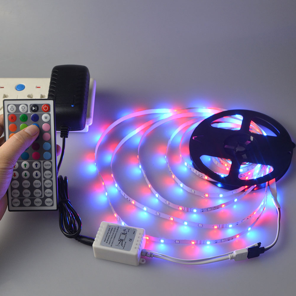 5m smd 2835 dc 12v rgb led strip light led lamp tape rgb remote control 3a adapter us eu. Black Bedroom Furniture Sets. Home Design Ideas