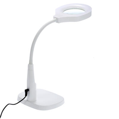 Versatile 2 In 1 Lighted Magnifier Desk Lamp Flexible Magnifying Glass With Light Hands Free Loupe Clamp And Base Holder