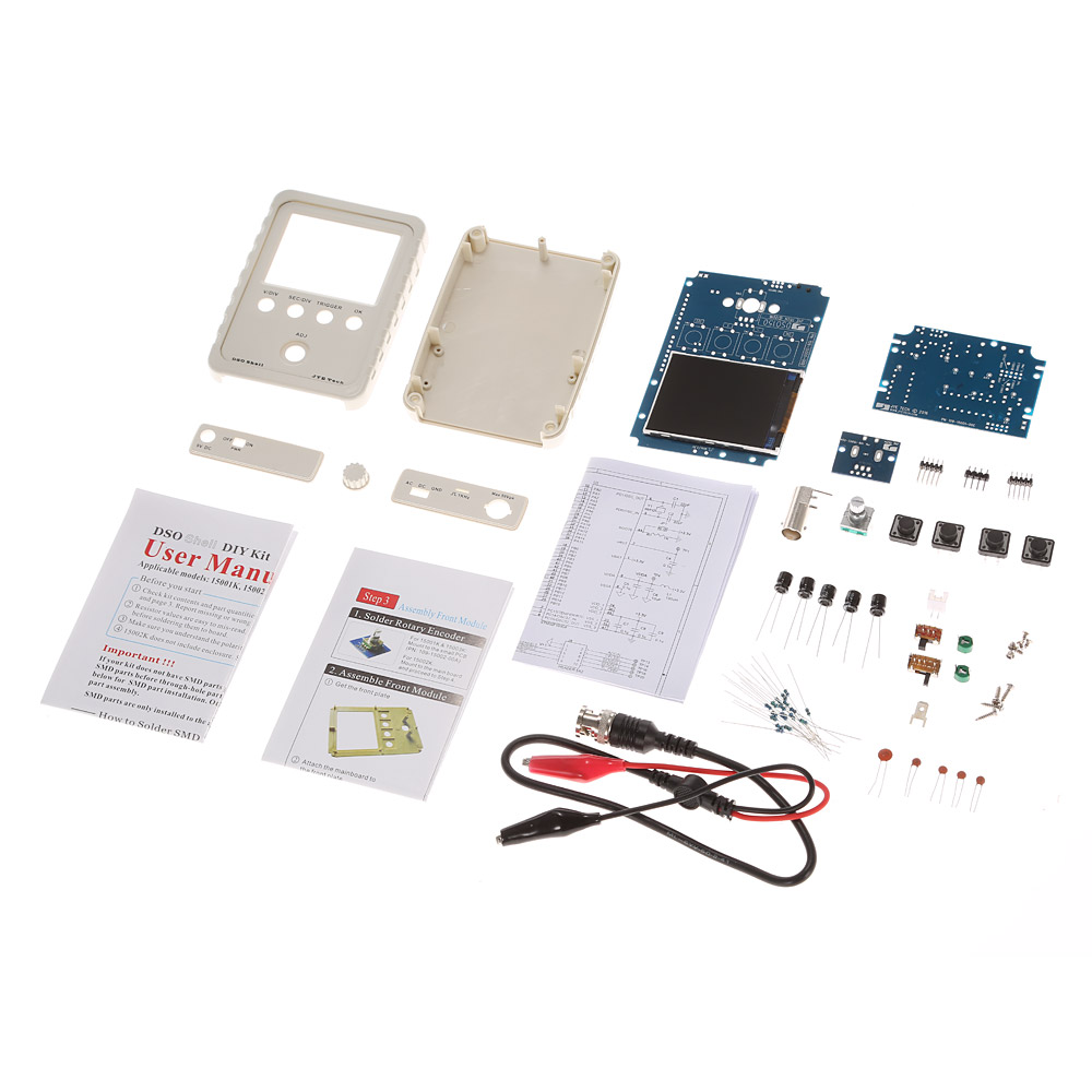 Digital Oscilloscope DIY Kit Parts with Case SMD Soldered Electronic Learning Set 1MSa s 0 200KHz 2.4 TFT Handheld Pocket size