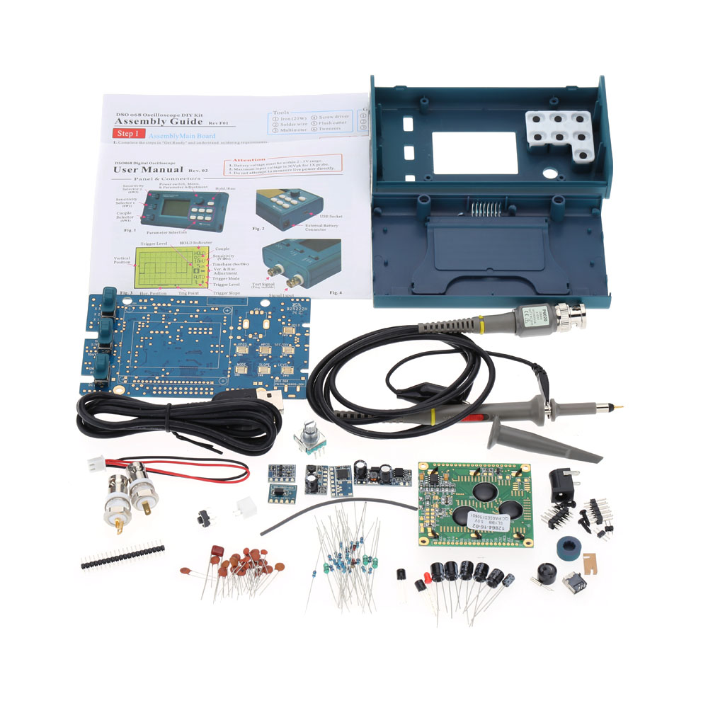 LCD Digital Storage Oscilloscope Frequency Meter DIY Kit with Professional BNC Probe USB Interface DSO 20MSa s 3MHz
