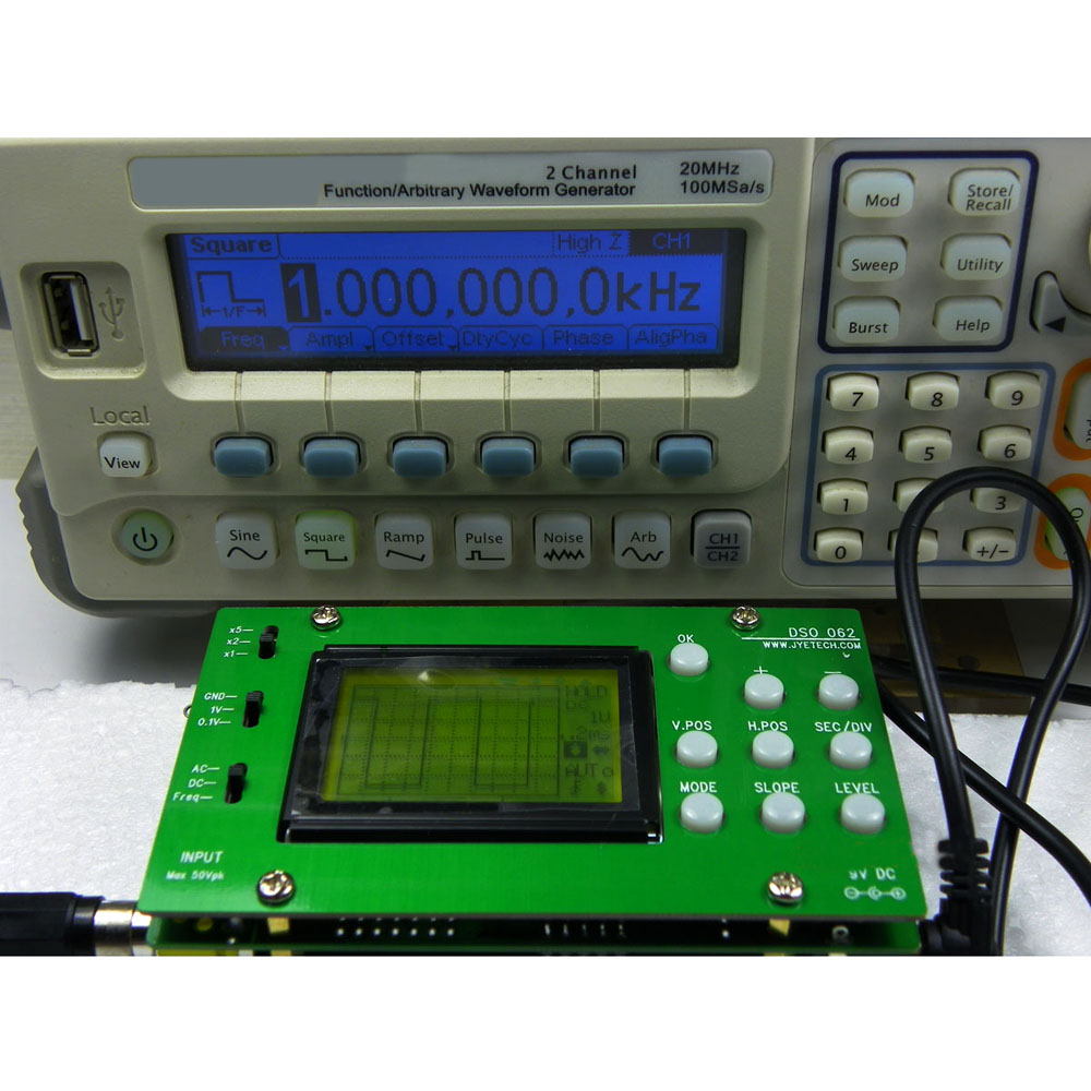 DSO062 Mini LCD Digital Oscilloscope DIY Kit Real time Sampling Rate Oscilloscopio 1M Banwidth 2Msps DIY parts