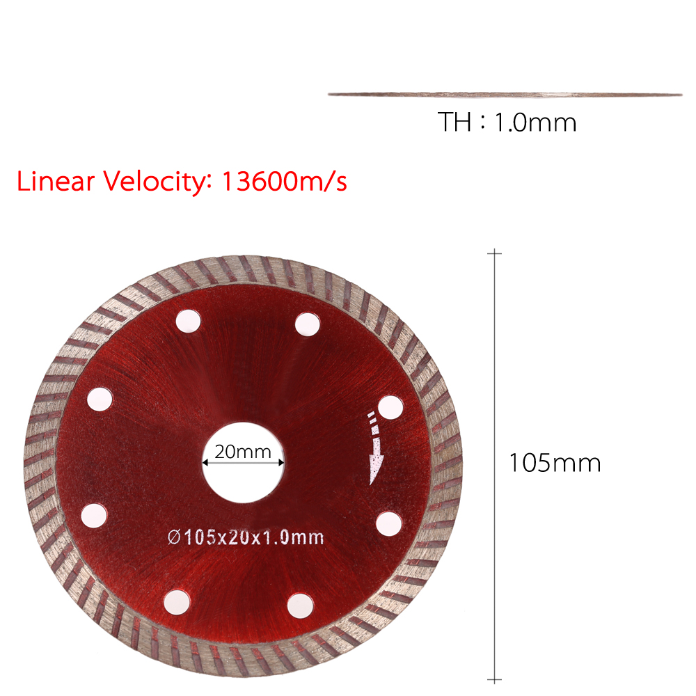 Diamond Cutting Disc Saw Blade Turbo Diamond Blade 8 Cooling Holes 20mm Angle Grinder Engineering Architect 105x1.0x20mm