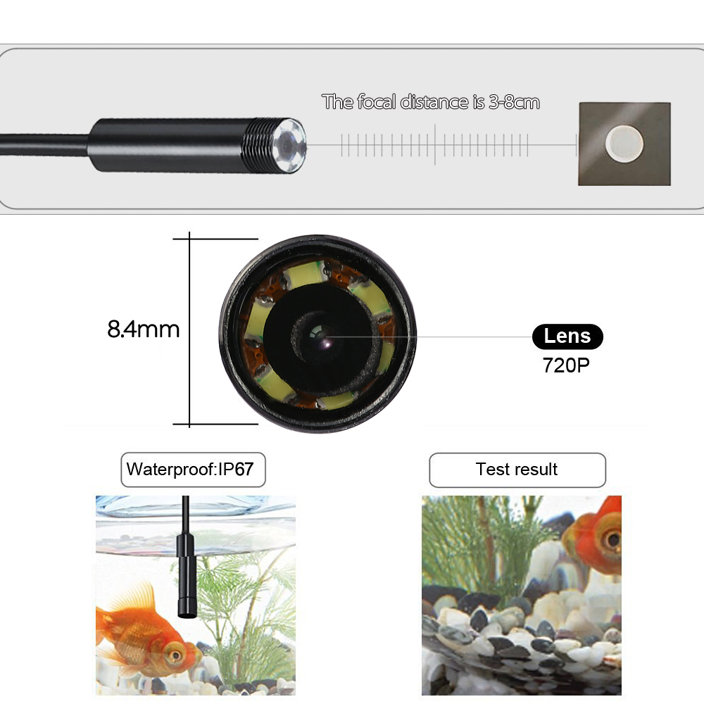 Waterproof Wi Fi Endoscope magnifying glass Snake Camera Borescope Video Inspection USB 6pcs 2.0MP 8.4mm 5M Magnifier