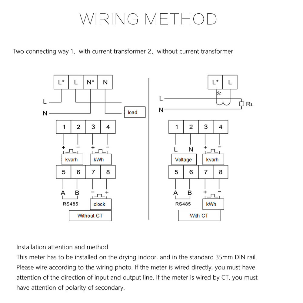 Watt Meter Wiring Diagram 25 Images Electrical 92235 Desc Lcd Din Rail Single Phase Power Electricity Energy 50 60hz Current Voltage