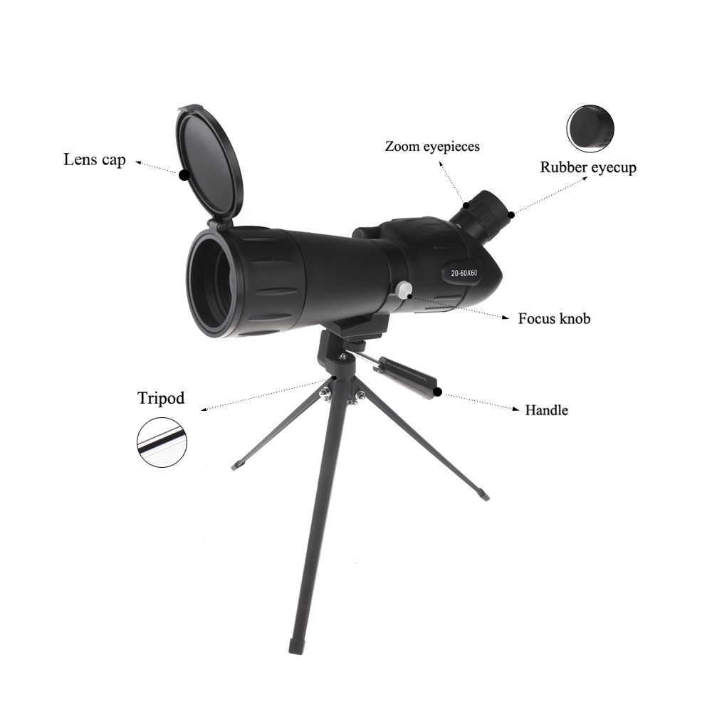 2016 HD Monocular Telescope Spotting Scope Shooting Monocular Birdwatching With A Telescope Tripod 20 60X60 Zoom Adjustable