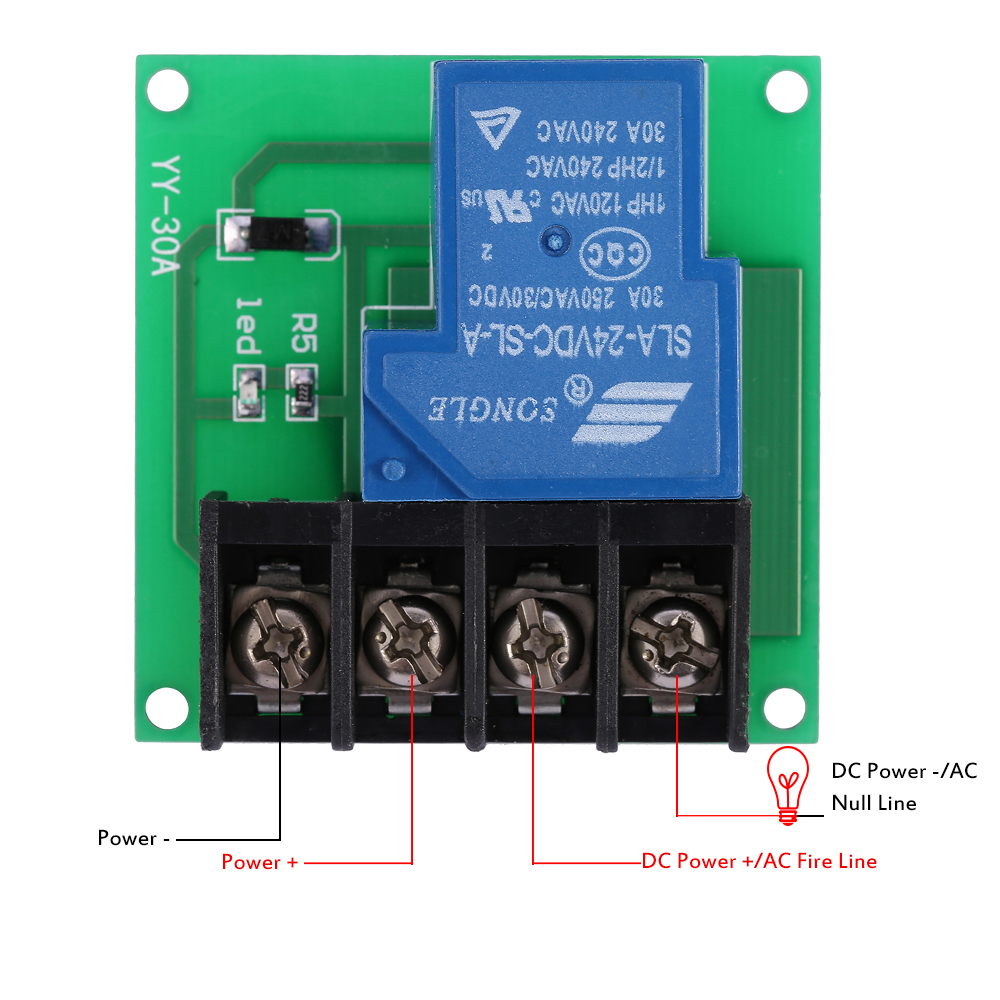 1 Channel 30a High Performance Relay Module Optocoupler Isolation Power Switch Control Board Dc 24v 12v