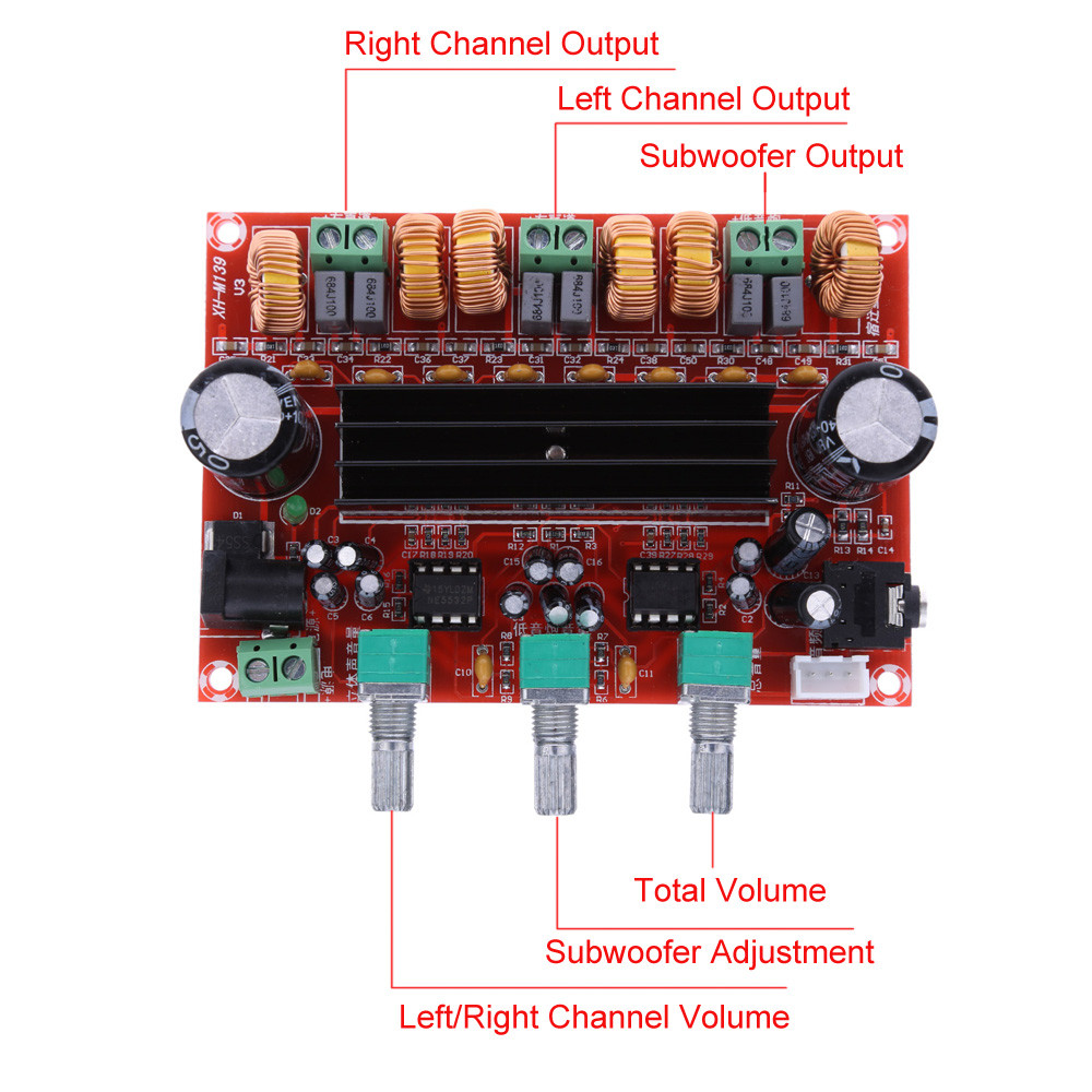 Upgrade 2.1 Channel Digital Power Amplifier Board Sound Quality Subwoofer Power Amplifier Board TPA3116D2 DC12V 24V 50Wx2+100W