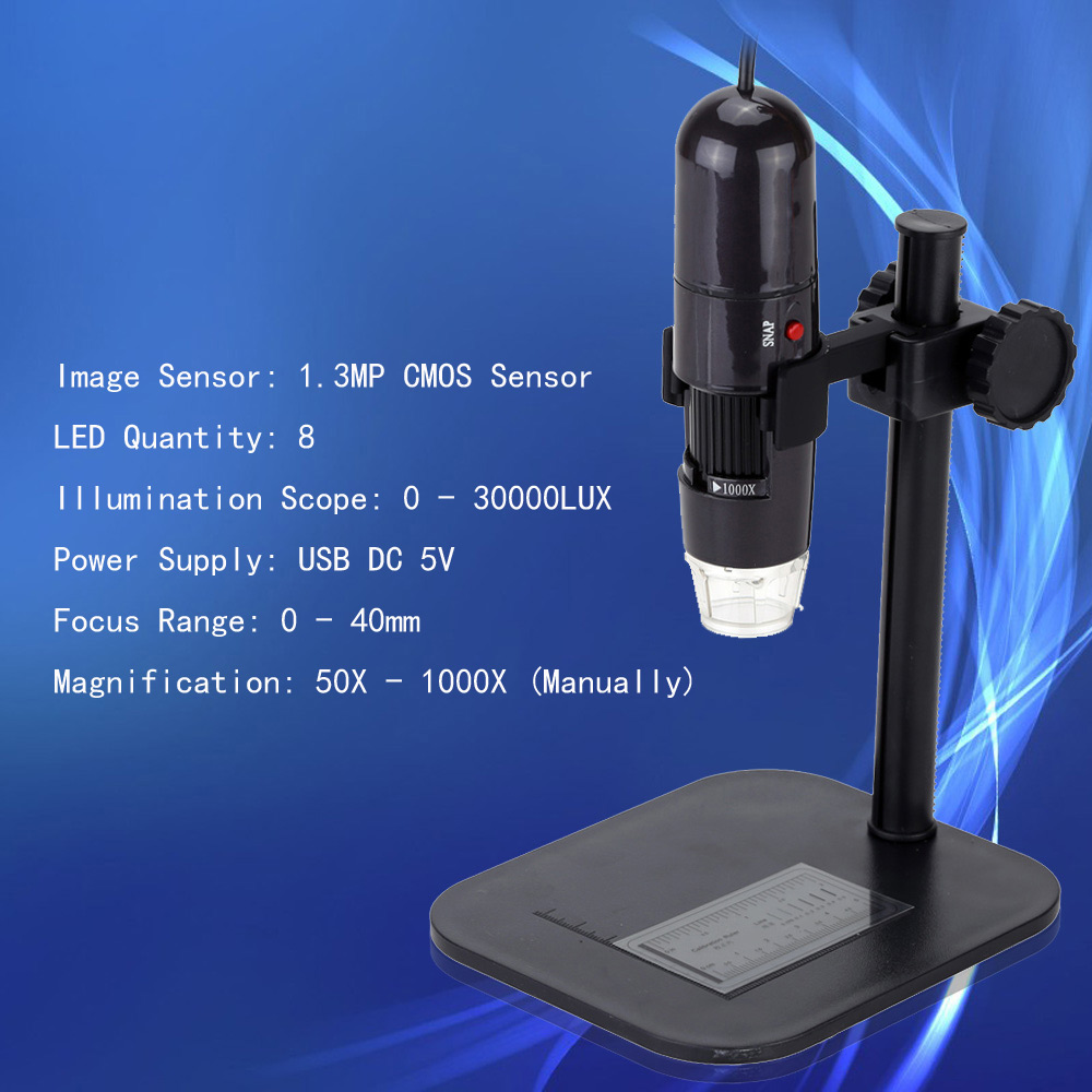 50 1000X 8LED USB Digital Microscope Mini Zoom Endoscope Magnifier with Adjustable Stand True 1.3MP High Resolution Video Camera