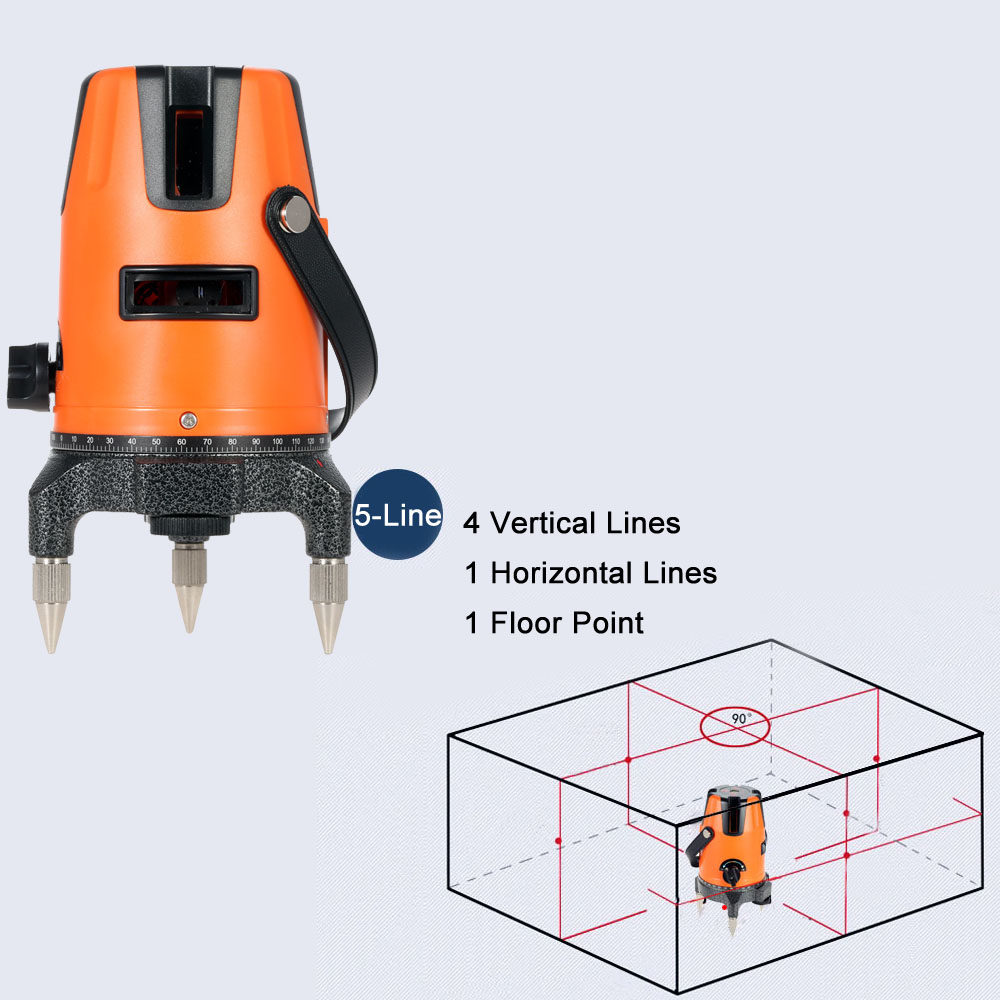 5 Lines Professional Laser Level Horizontal Vertical Automatic Leveling Laser Dumpy Level with Protective Glasses