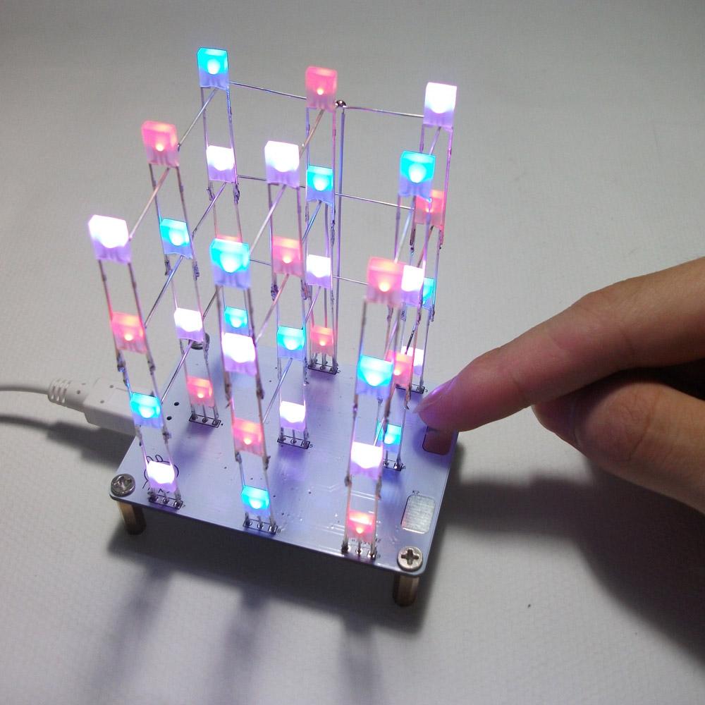 DIY Electronic LED Display Kit 3*3*4 Color 40pcs LEDs ...