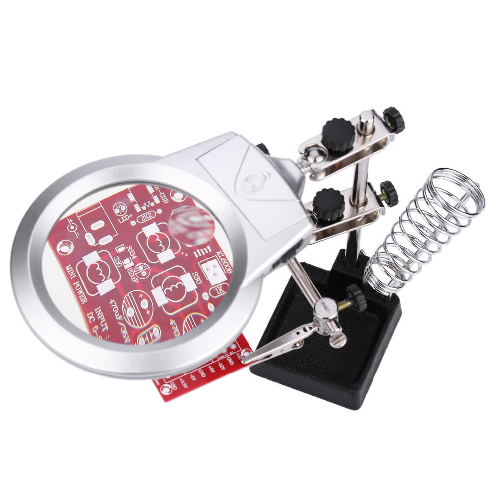 Multi Functional Magnifier 2x 6x Lupa Magnifying Glass Loupe With Circuit Board Holder Soldering Iron Stand Clamp Pcb Jig Led Light Alligator Clip Fixture