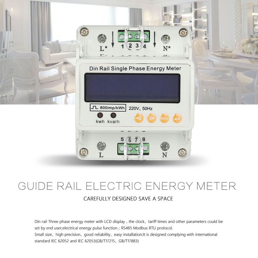60 Hertz Frequency Meter : Lcd din rail single phase power meter electricity energy
