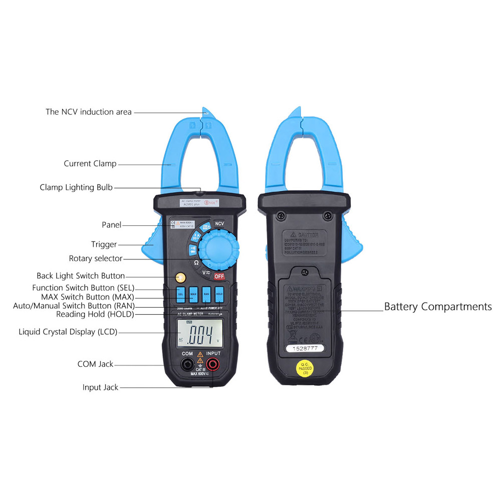 Digital Clamp Meter Multimeter The Current Tongs Circuit Diagnostic Voltage Display Tool Dc Ac Resistance Continuity Diode