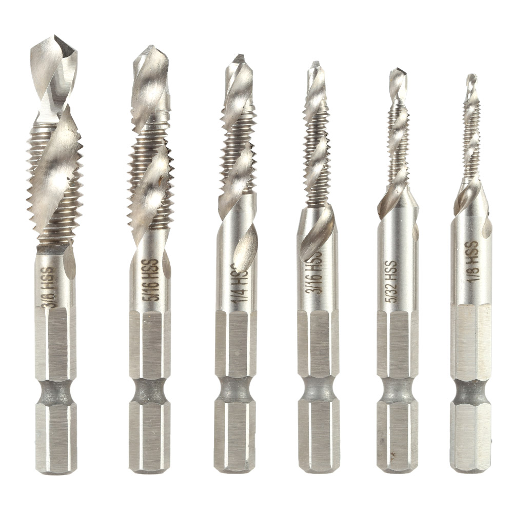 6pcs Set Cutting Drill Hole Spiral Tap Practical Drill Bit
