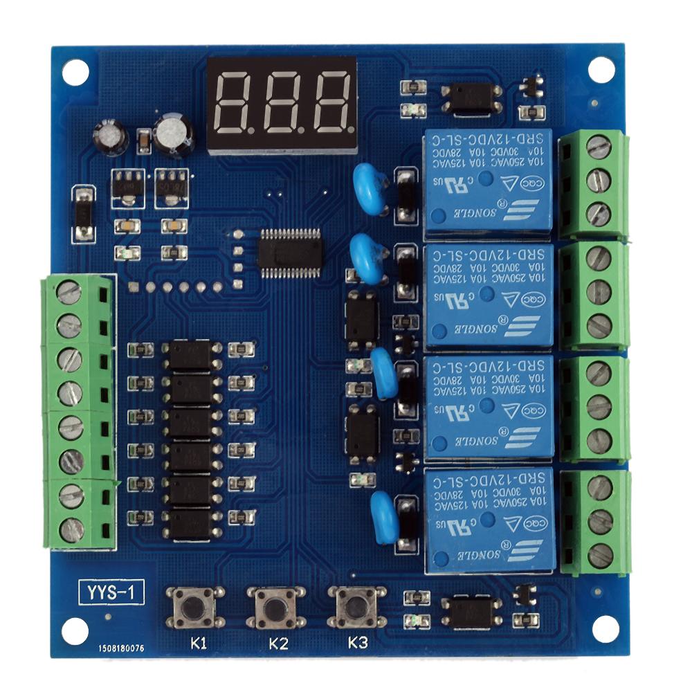 Dc24v 12v 4 Channel Relay Module Programmable Signal Trigger Delay Digital Timer Circuit Adjustment Plc Board