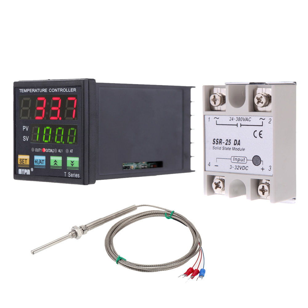 Mini Digital Pid Temperature Controller Thermometer Heating Cooling Solid State Relay Control Module Rtd