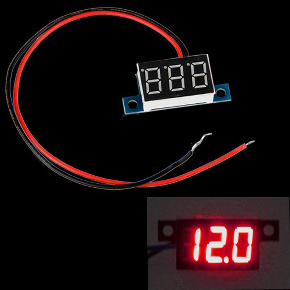 Mini 2 Wires Dc Voltmeter 33 30v Led Panel Digital Display Voltage Voltmeters Meter Blue Light